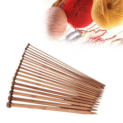 36pcs/set 2mm-10mm Carbonize Bamboo Single Pointed Crochet Knitting Needles Pin