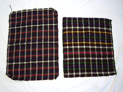 Vintage Bag Balkan Hand Woven Wool FOLK COSTUME Fabric Checkered Bulgarian TORBA