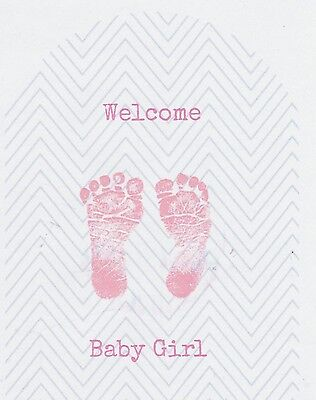SET OF 6 X PERSONALISED 89 x120.7MM WELCOME BABY GIRL WINE BOTTLE LABEL