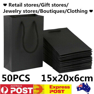 50x 15x20x6cm Kraft Black Paper Gift Carry Bag Shopping Bags With Handle Durable