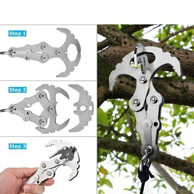 Folding Stainless Steel Gravity Grappling Hook Climbing Claw Survival Carabiner