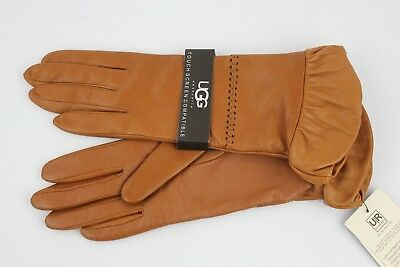 Ugg Tech Ruched Leather Chestnut Gloves Leather Wool Cashmere Lined Size S