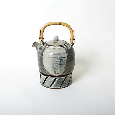 Vintage Danish Gray Teapot Bamboo Handle With Candlelight Piece Studio Potter