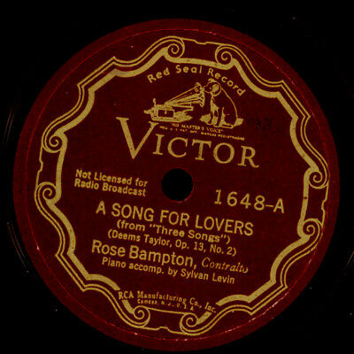 ROSE BAMPTON -CONTRALTO- A song for lovers / In the Luxemburg Gardens 78'  S9852