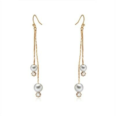 2X(Fashion Drop Earring Long Pearl Crystal Chain Tassel Dangle Pendientes parB9)