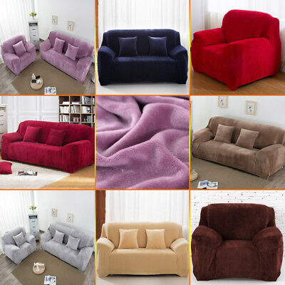 Easy Fit Sofa Slipcover Stretch Protector Soft Couch Cover Thick Plush Velvet AU