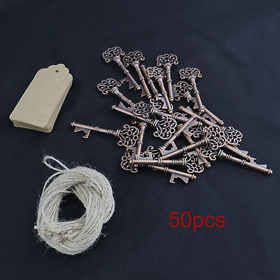 50PCS Antique Key Bottle Opener with Kraft Tag Card Party Wedding Favors Decor