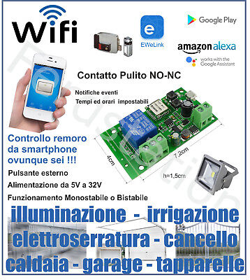 Ricevente WiFi DOMOTICA TIMER LUCI GARAGE CANCELLI IRRIGAZIONE smart switch app