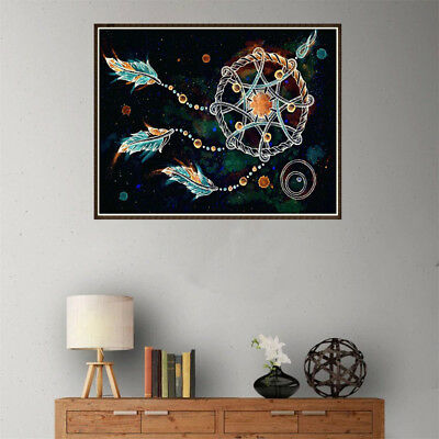 5D Diy feather Diamond Painting Embroidery Indian Dream catcher Cross Stitch TJB