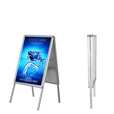 A2 Pavement Poster Holder Stand Sign Display A-Frame Snap Double Side Aluminum