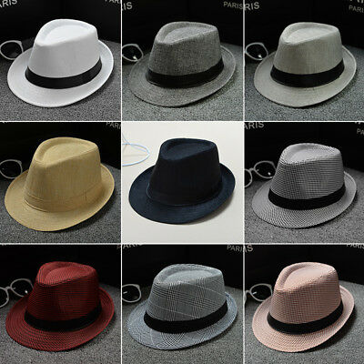Unisex Straw Fedora Sun Hat Panama Trilby Crushable Mens Ladies Foldable Travel