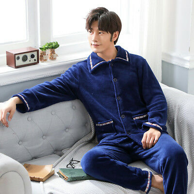 Winter Men's Flannel Pajamas Sleepwear Tops Pants Trousers Warm Plush 2PC Set
