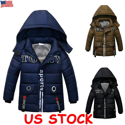 Winter Kids Boys Hooded Warm Quilted Puffer Fur Coat Jacket School Trendy Parka