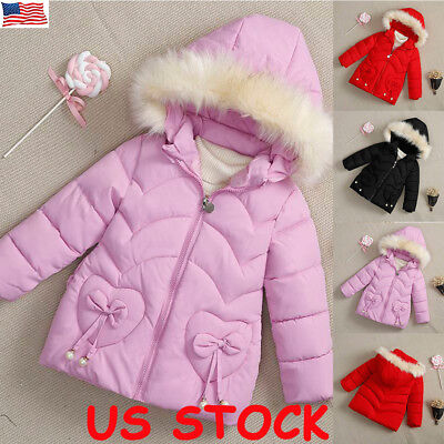 Kids Girls Winter Padded Warm Floral Coat Jacket Fur Collar Outerwear Hooded US