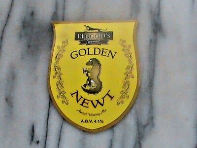 Elgood's Golden Newt real ale beer pump clip sign