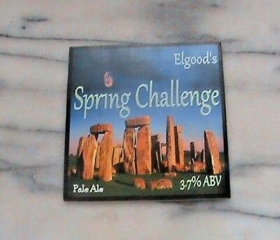 Elgood's Spring Challenge real ale beer pump clip sign Stonehenge Theme