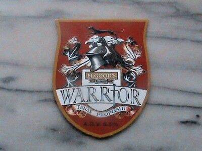Elgood's Warrior Tenax Propositi real ale beer pump clip sign