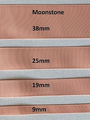 Grossgrain Ribbon - 9mm - 19mm - 25mm - 38mm - Moonstone - Apricot - Peach