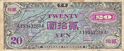 Japan 20 Yen ND. 1945 P 73 Series 100 circulated Banknote , G. 1C