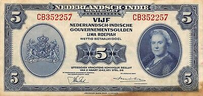 Netherlands Indies 5 Gulden 2.3.1943 P 113a Series CB Circulated Banknote EW