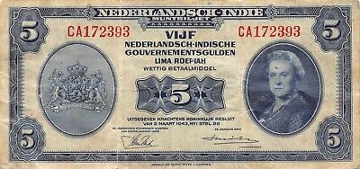 Netherlands Indies 5 Gulden 2.3.1943 Series CA Circulated Banknote ARC