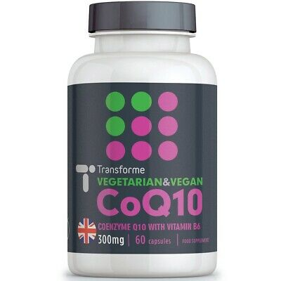 Vegetarian Co Enzyme Q10 300mg 60 CoQ10 Capsules Naturally Fermented, Transforme