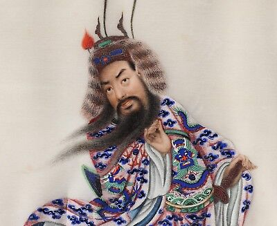 Antique c.1850 Chinese Painting on Pith Paper of a Male Figure