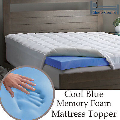 Cool Blue Memory Foam Mattress Topper 4FT Small Double 122cm x190cm 1 Inch Depth