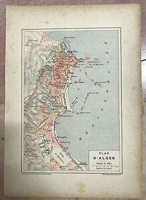 ALGER XIXe CENTURY by PERRIN DETAILED ANTIQUE ENGRAVED PLAN