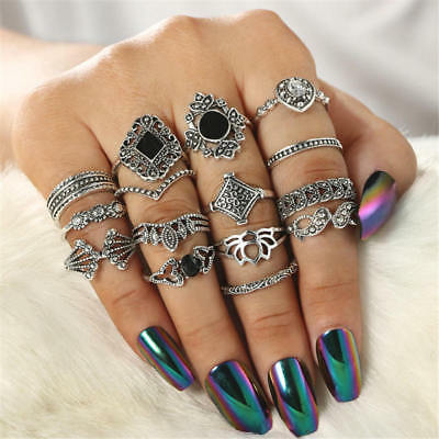 15pcs Mixed Personalized Vintage Women Ancient Silver Finger Rings Punk Ring