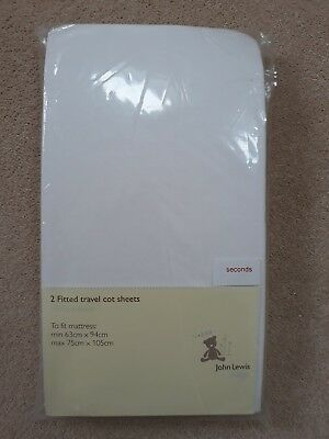 John Lewis Seconds 2 Fitted Travel Cot Sheets
