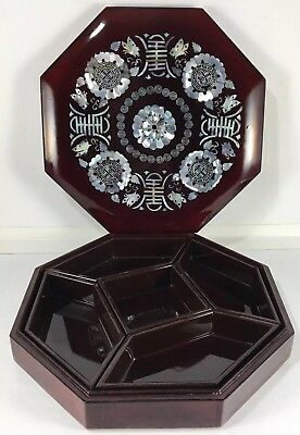 Vintage Asian Inlay Wood Mother Of Pearl Lacquered Octagon Jewelry Candy Box Mop