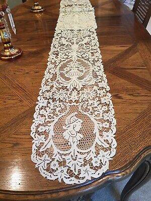 """Antique Table Runner—Beautiful Needle Lace From Italy!! Unusually Long—108""""X 11"""""""