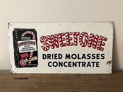 Vintage Advertising Sign Candy Cane Original Tin Litho Staley Molasses Christmas