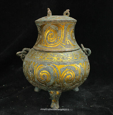 Certified100% Chinese  Ancient Bronze Ware wine pot jar teapot box bowl Statue