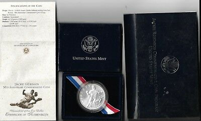 1997-S Jackie Robinson Uncirculated Silver Dollar Commemorative in OGP