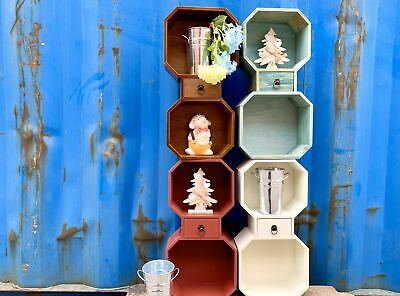 Rustic Wood Wall Shelf Display Shelving Storage Compartment bookcase Children