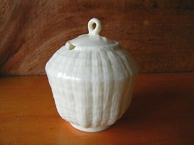 "Vintage ""BELLEEK PORCELAIN"" Mustard Condiment Jar Tridacna Green Mark 1946-1955"