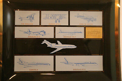 1964 United Airline Glass Trinket Dishes  United Aircraft from 1926 to 1964