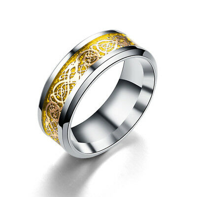 Celt Dragon Band Ring Women Men Stainless Steel Silver Gold Wedding Band Size 6