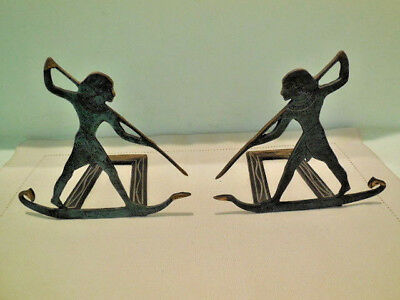 Egyptian Decorative Bookends - Fantasia - Made in Israel - Bronze Color