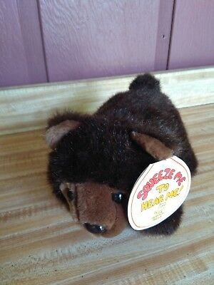 """Hard to Find 8"""" plush vintage 1987 Squeez-Ems Billy the Brown Bear stuffed,"""