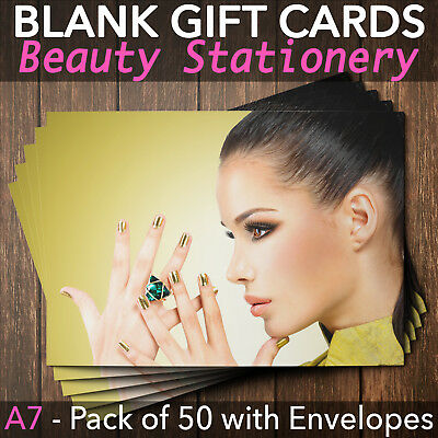 Gift Voucher Card Beauty Make Up Salons Spa Hairdressers Therapy x50 +Envelopes