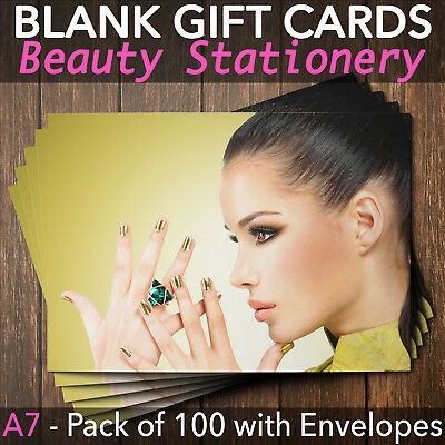 Gift Voucher Card Beauty Make Up Salons Spa Hairdressers Therapy x100 +Envelopes