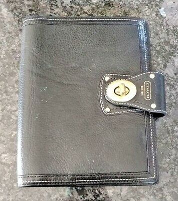 "Coach Black Leather 6"" x 8"" Turn lock Planner"