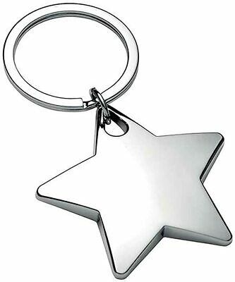 Personalised Chunky High Polished Chrome Star Keyring / Keychain CAN BE ENGRAVED