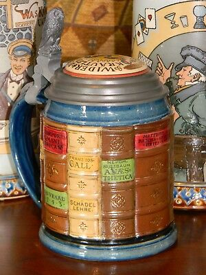 'Medical Book Stein'  with Owl Thumblift, Mettlach