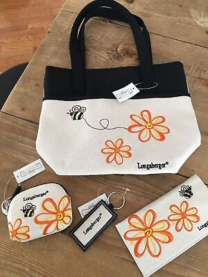 Longaberger Homestead Bee Purse Tote, Coin Purse, Checkbook Cover, Keychain. NEW