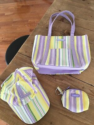 Longaberger Homestead Spring Pastel Stripe Purse Tote, Coin Purse & Hat