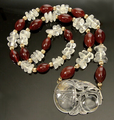 Antique Chinese Rock Crystal Clasp Pendant Carnelian Bead Necklace